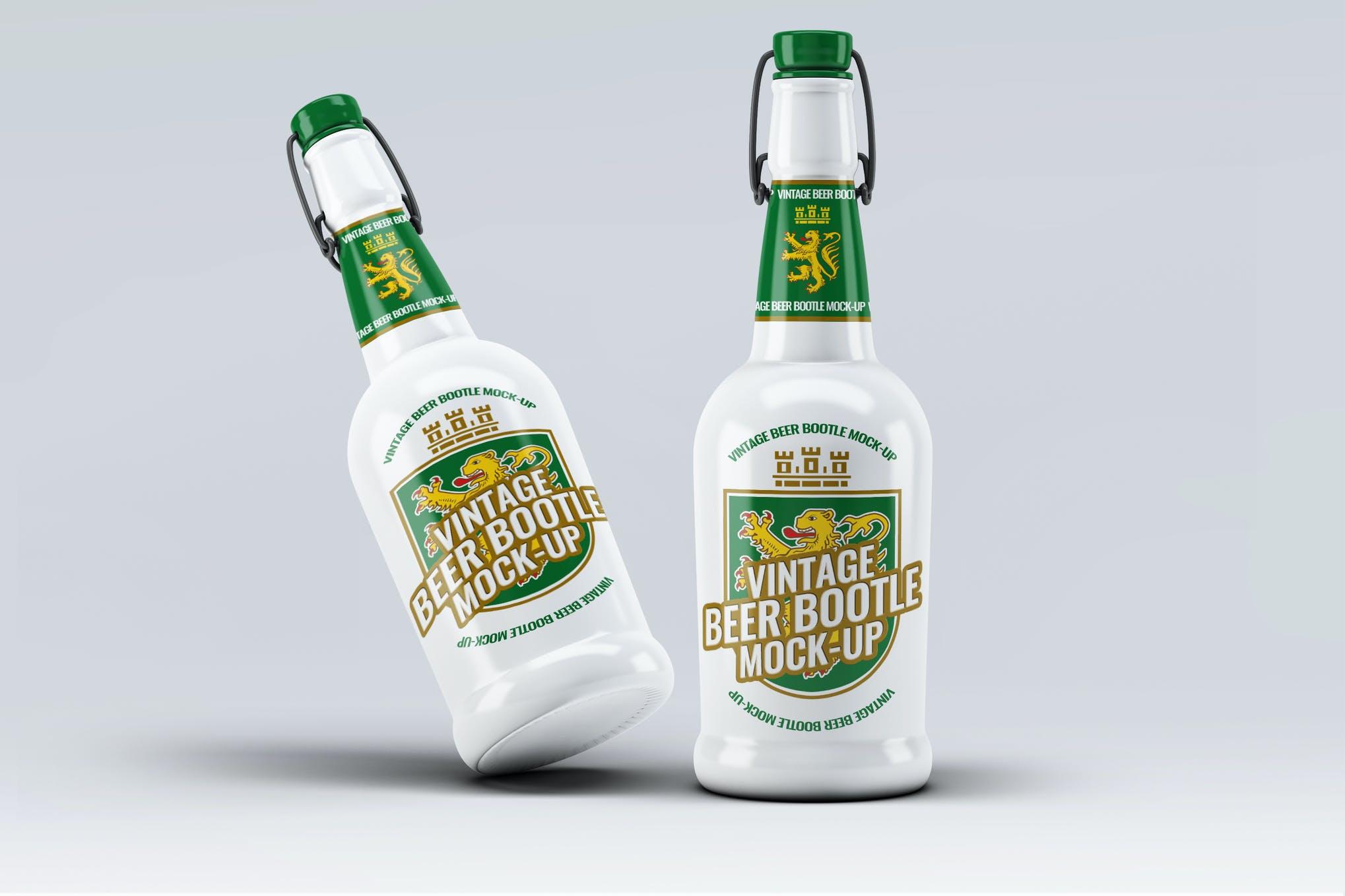 啤酒瓶样式1样机效果图插图(1)