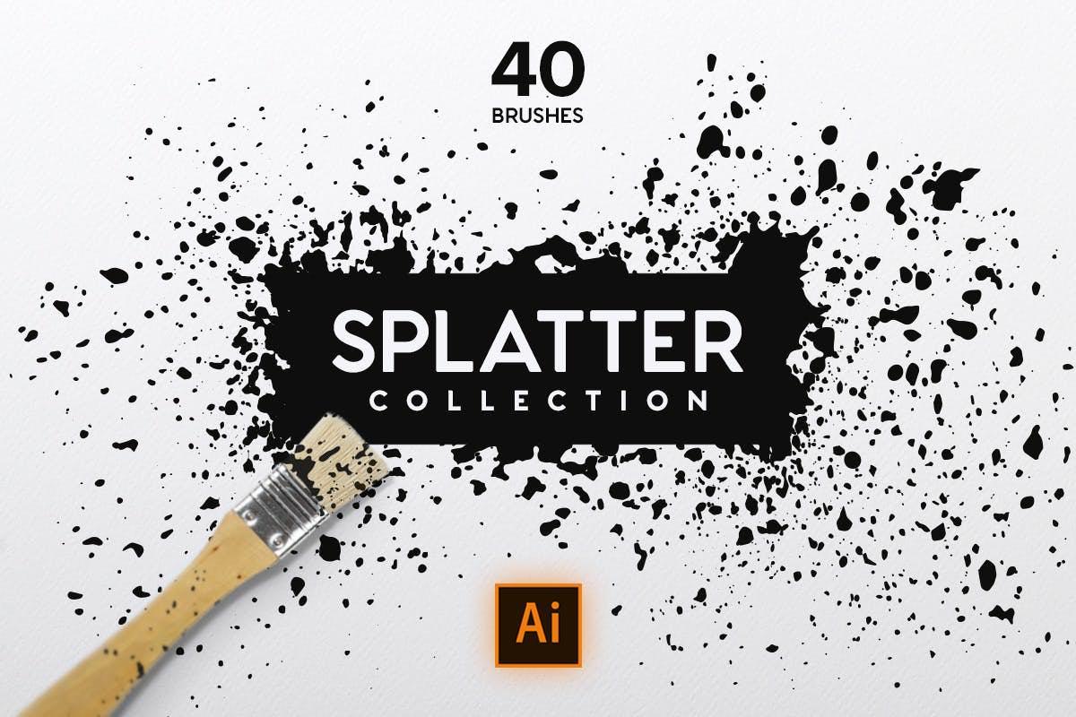 40套AI水墨飞溅效果笔刷插图(1)