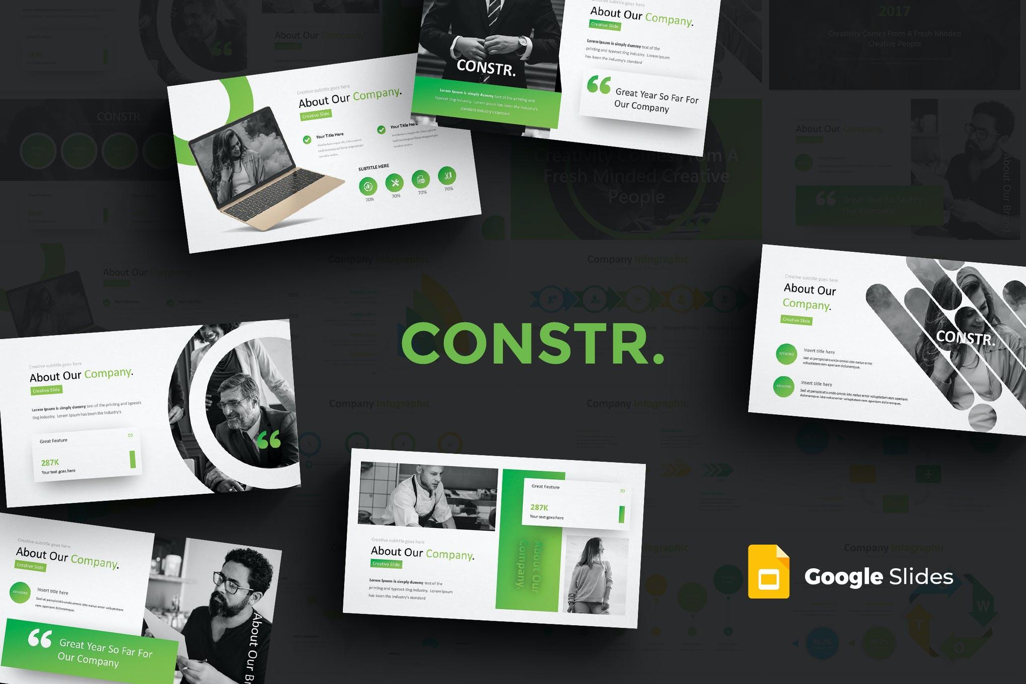 绿色清新公司商务介绍PPT模板插图(1)