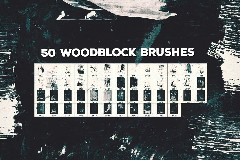 50套PS复古木版笔刷插图(9)