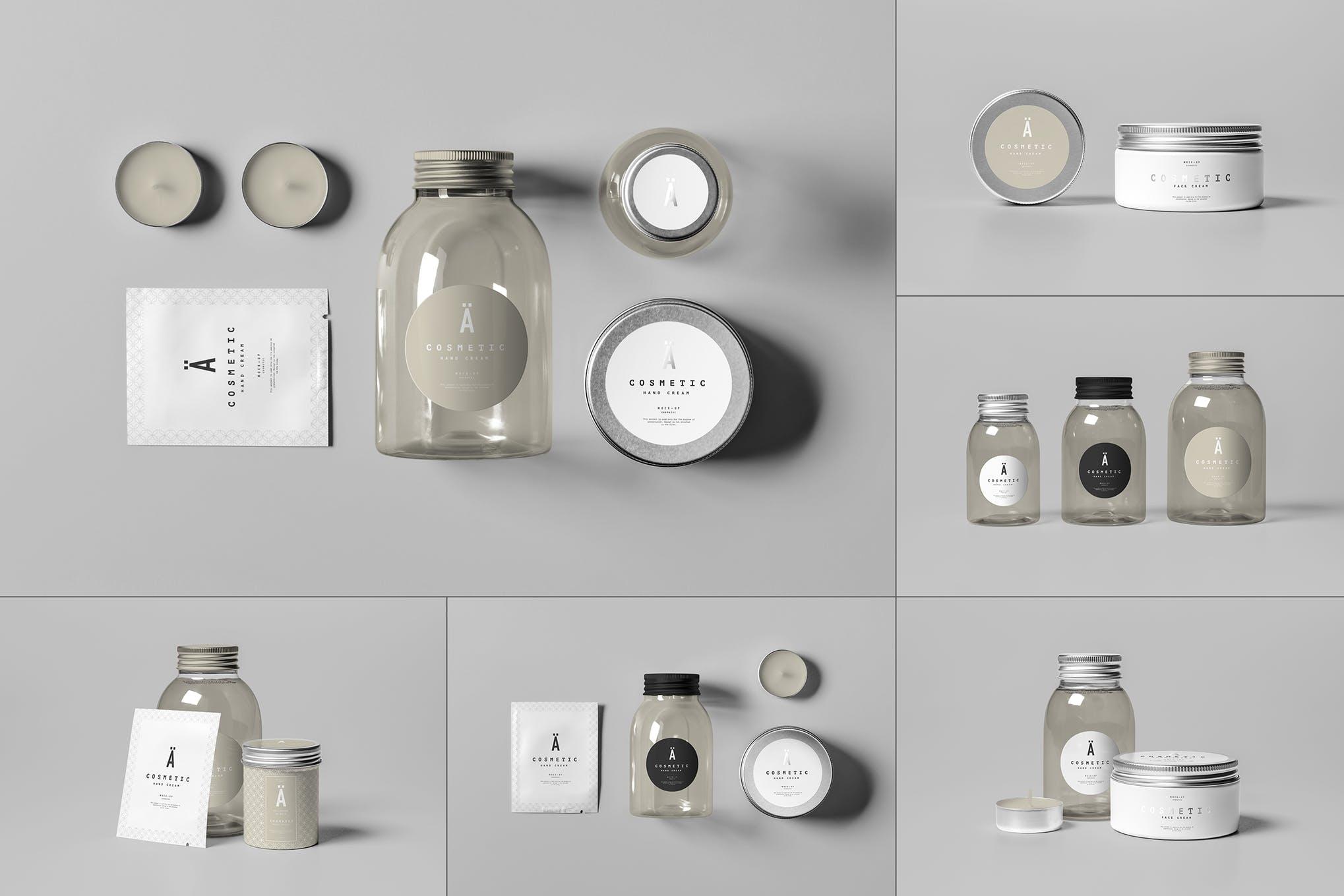 化妆品湿巾蜡烛玻璃瓶套装样机效果图插图(1)