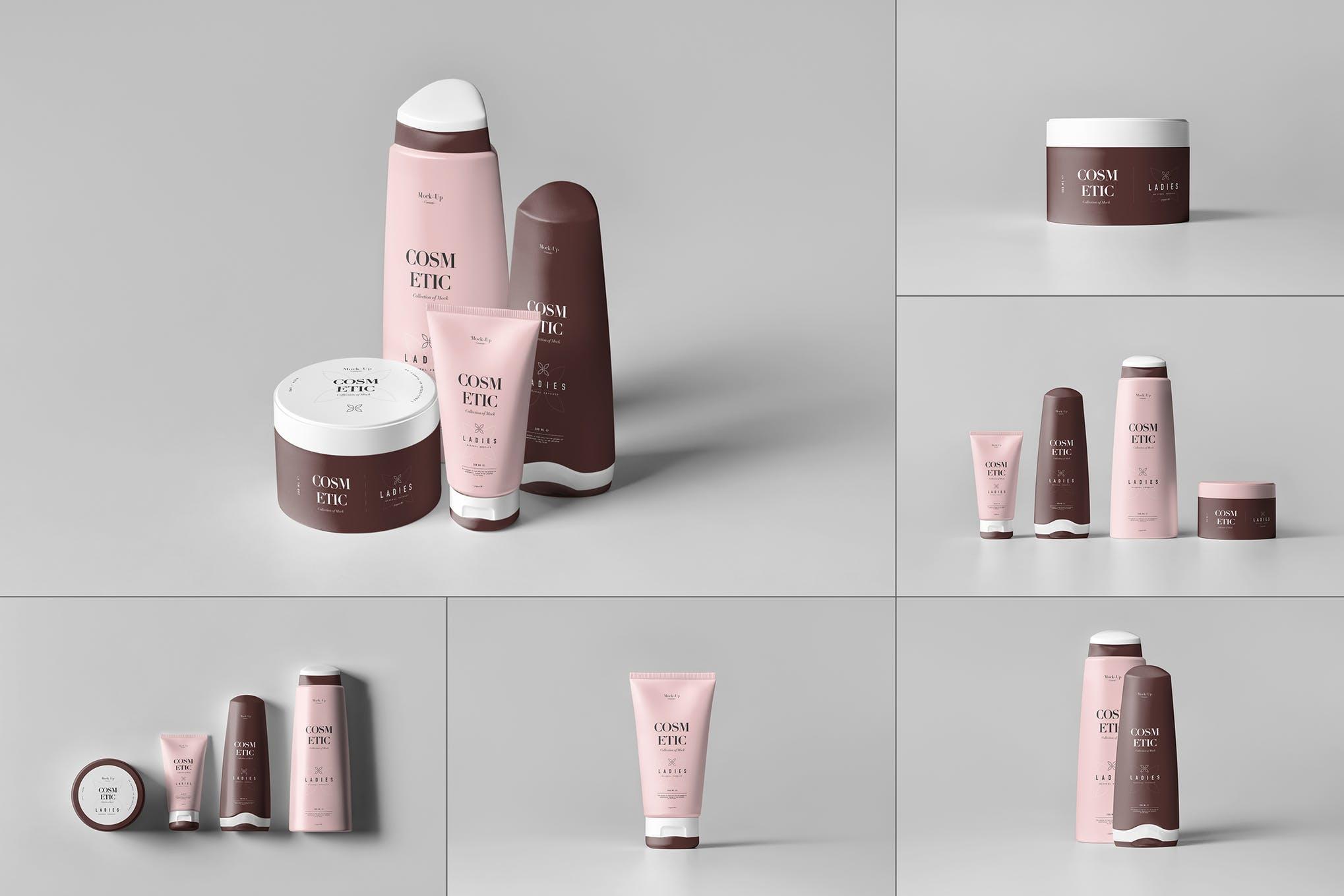 化妆品洗面奶沐浴液洗发露包装样机效果图插图(1)