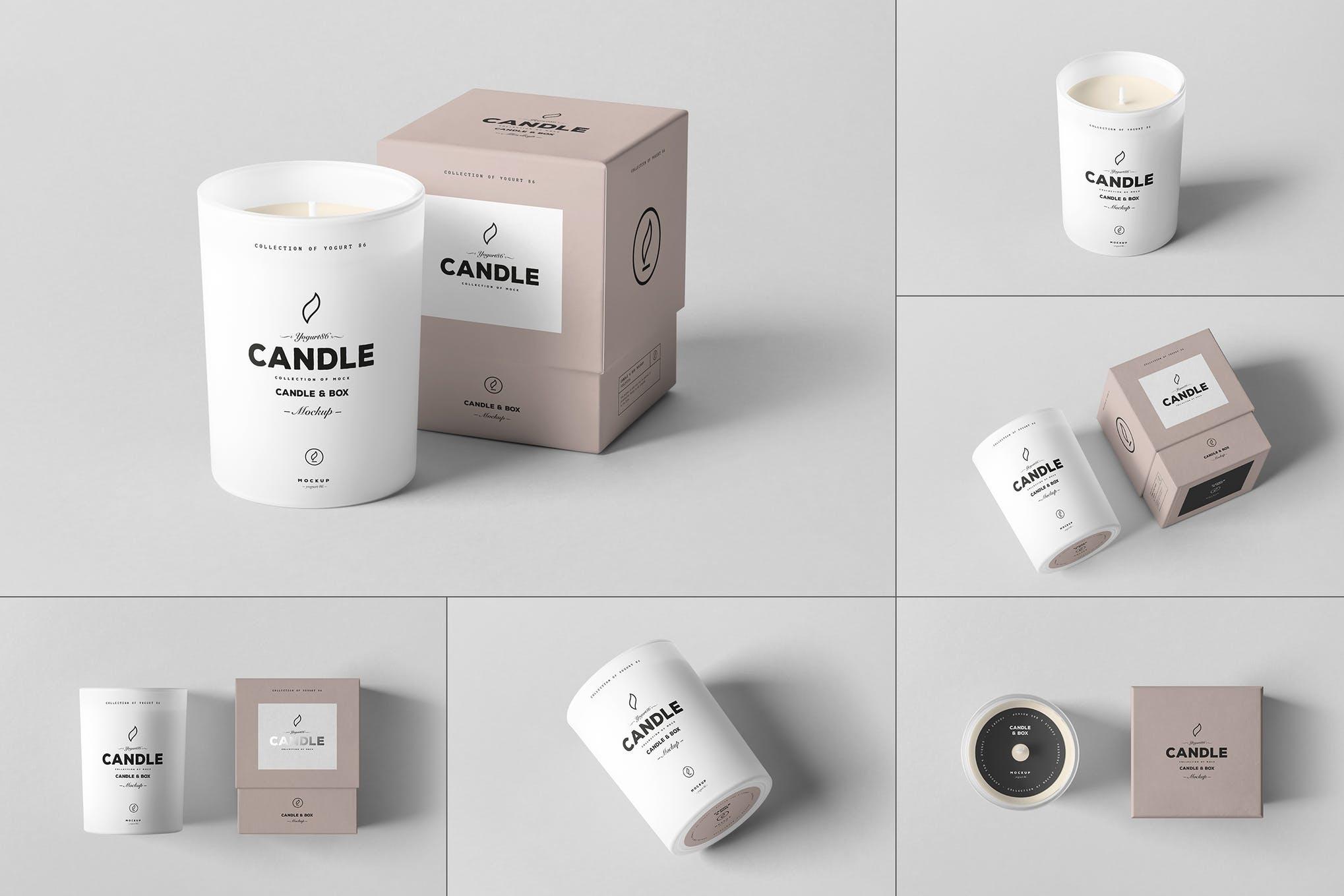 蜡烛香薰和包装盒样机效果图插图(1)
