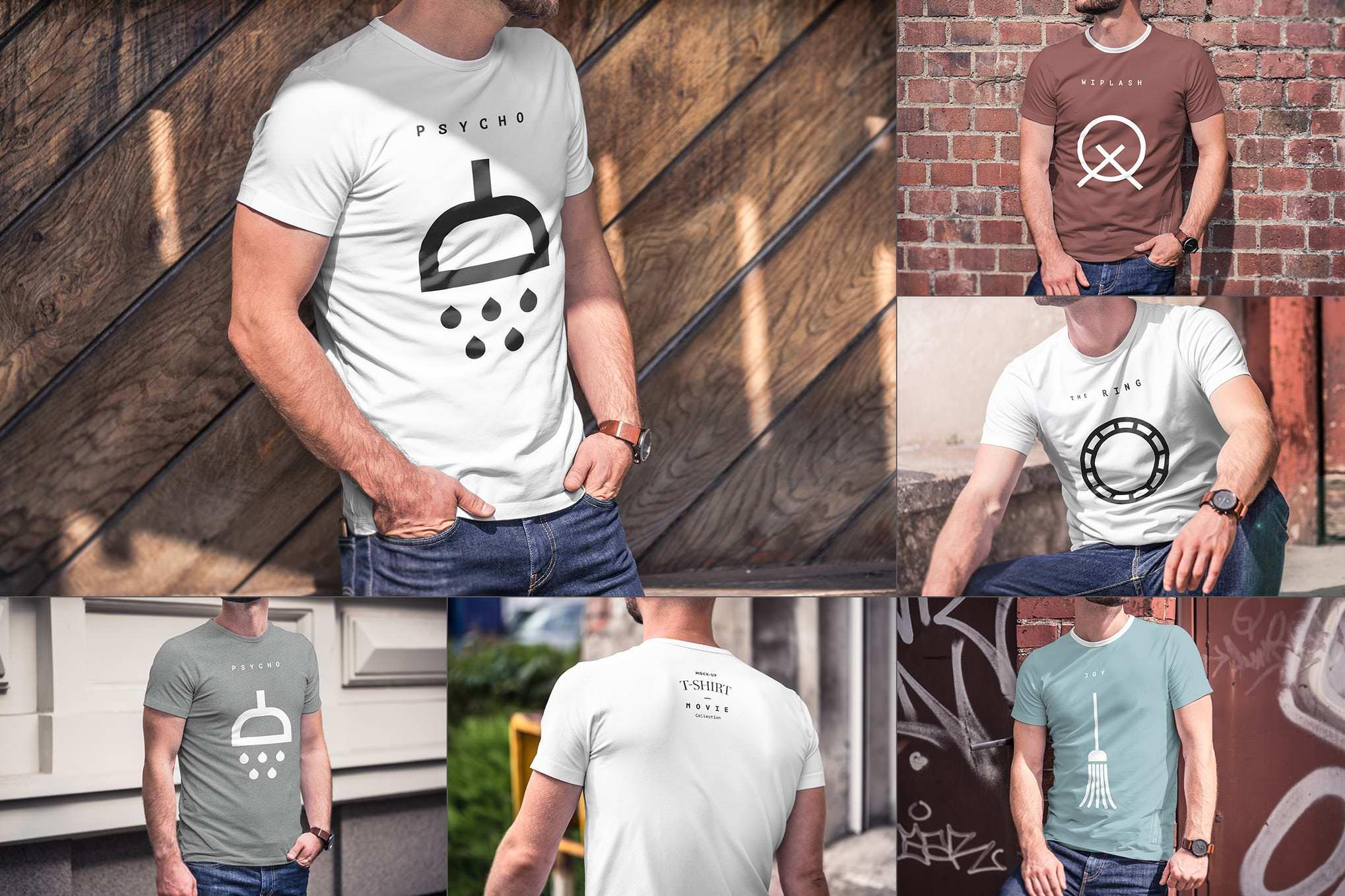 男士短袖T恤衫样机效果图插图(1)
