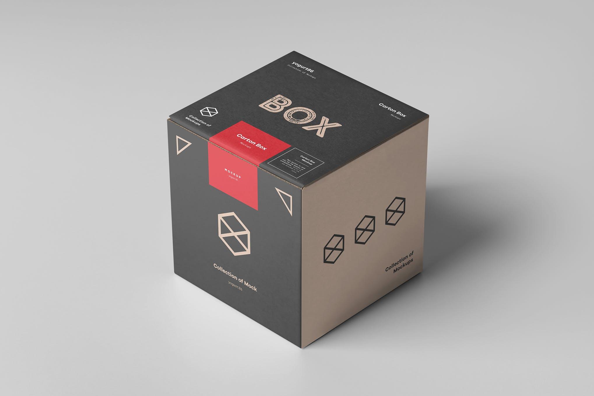100x100x100 正方形包装盒样机效果图插图(1)