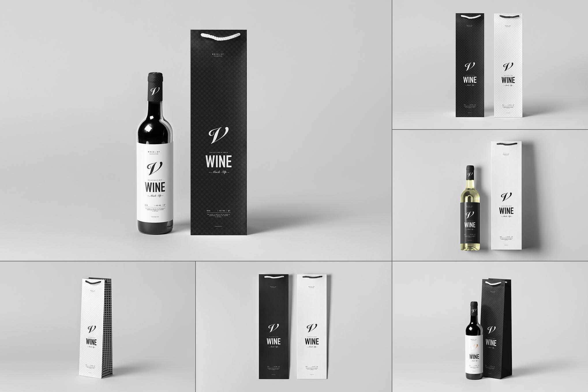 红酒和红酒礼品包装袋样机效果图插图(1)