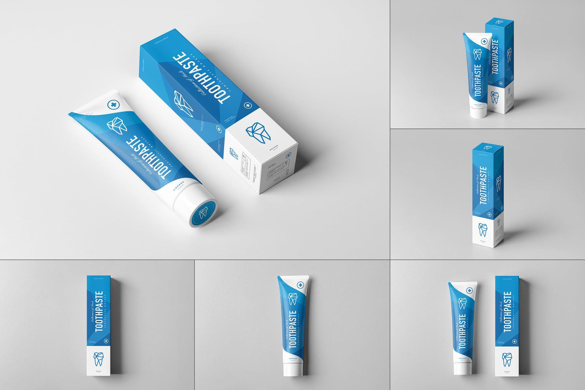 牙膏和包装盒样机效果图插图(1)