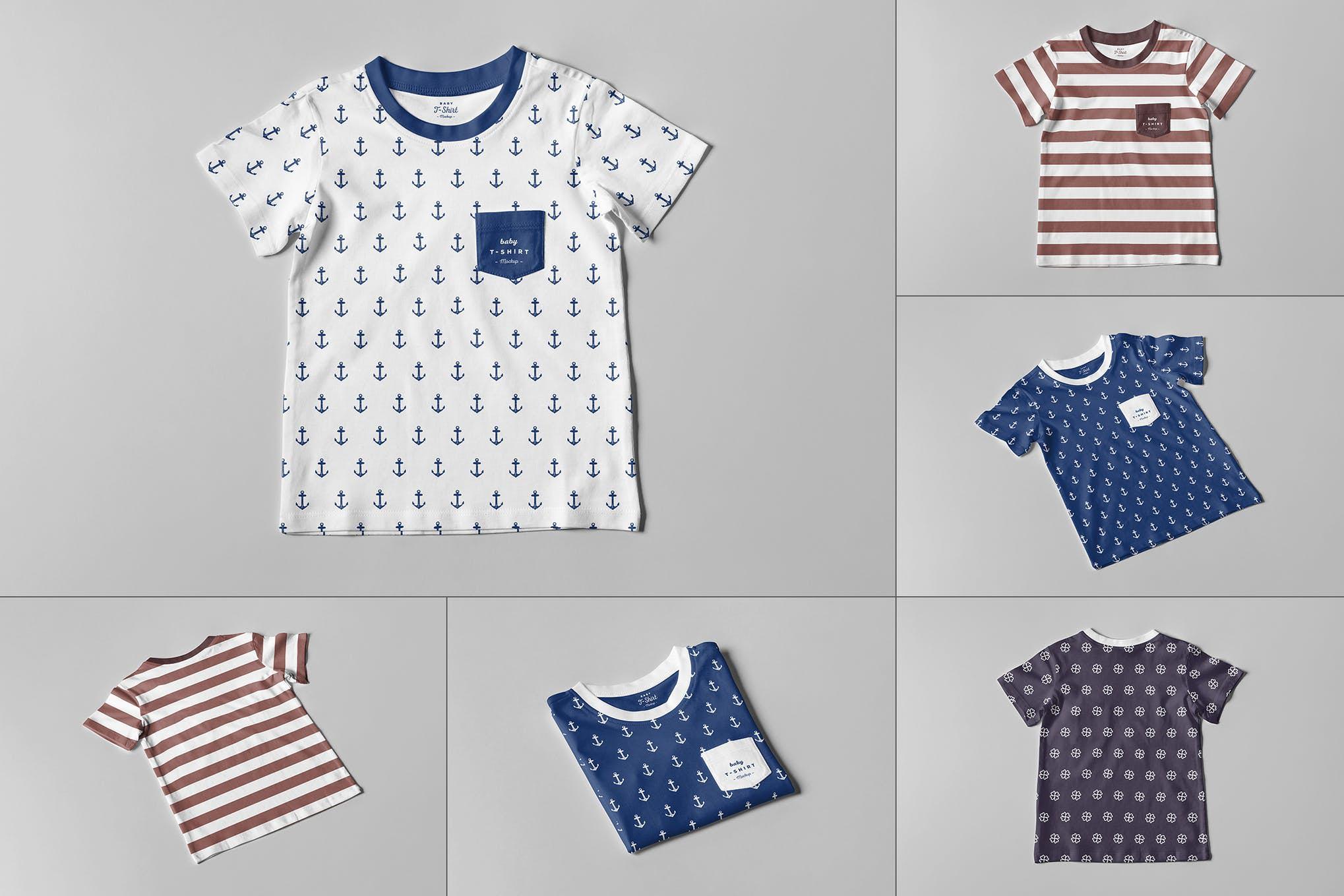 婴儿幼童短袖T恤衫样机效果图插图(1)