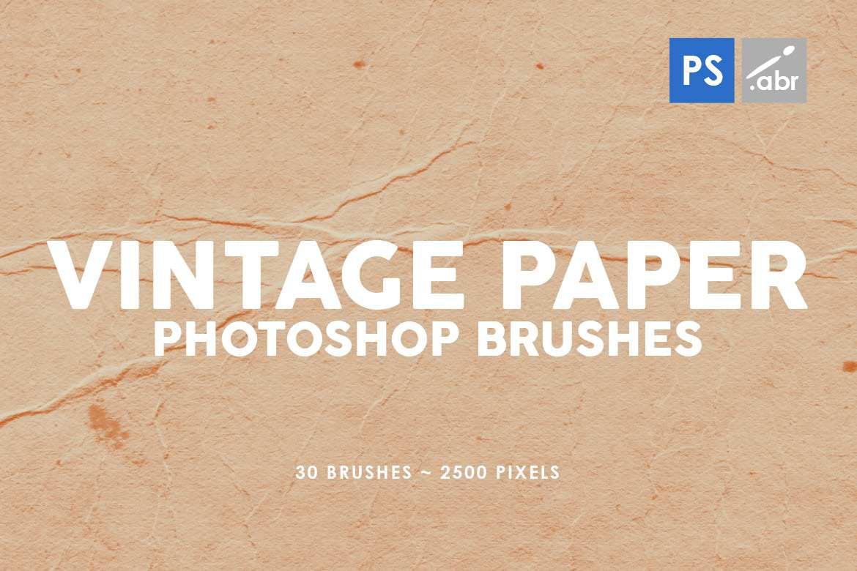 30种经典复古牛皮纸纸张效果PS笔刷