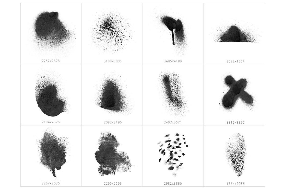 32种突然喷墨形状纹理