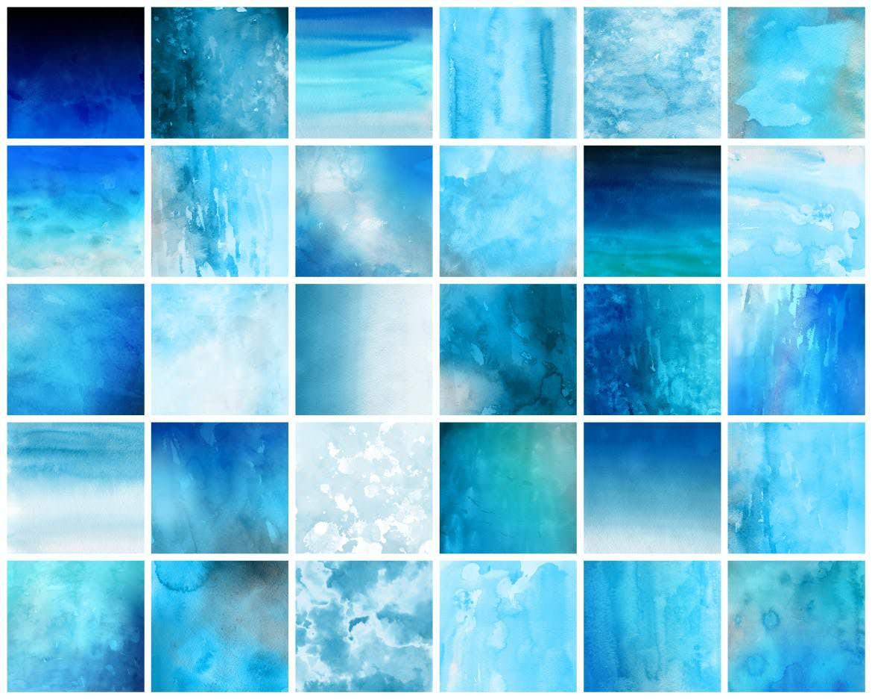 30种蓝色水墨效果背景