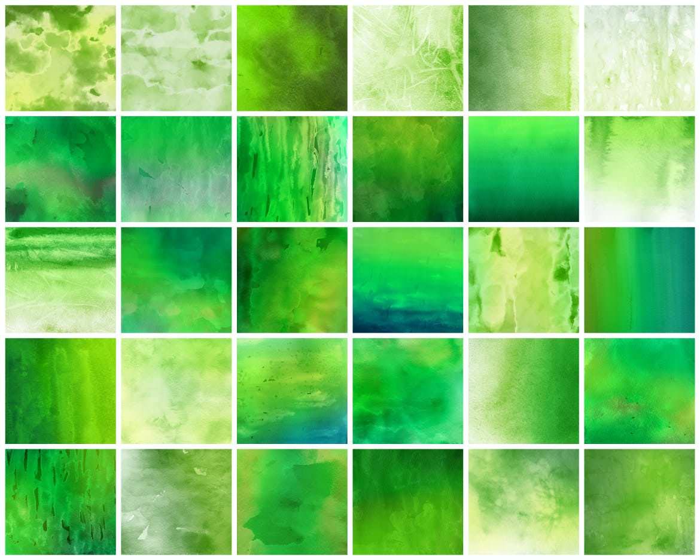 30种绿色水墨效果背景