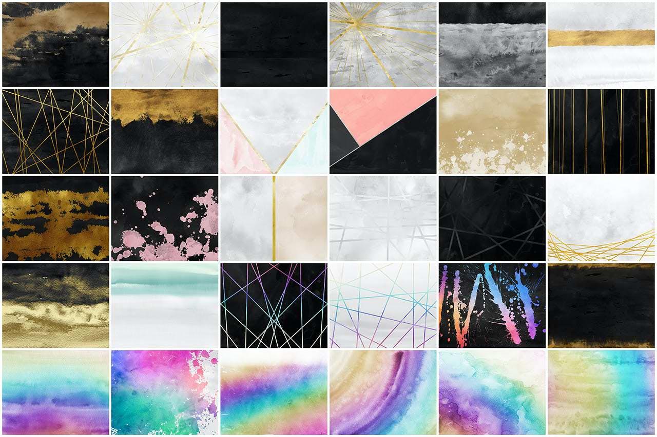 30种现代化彩墨效果背景