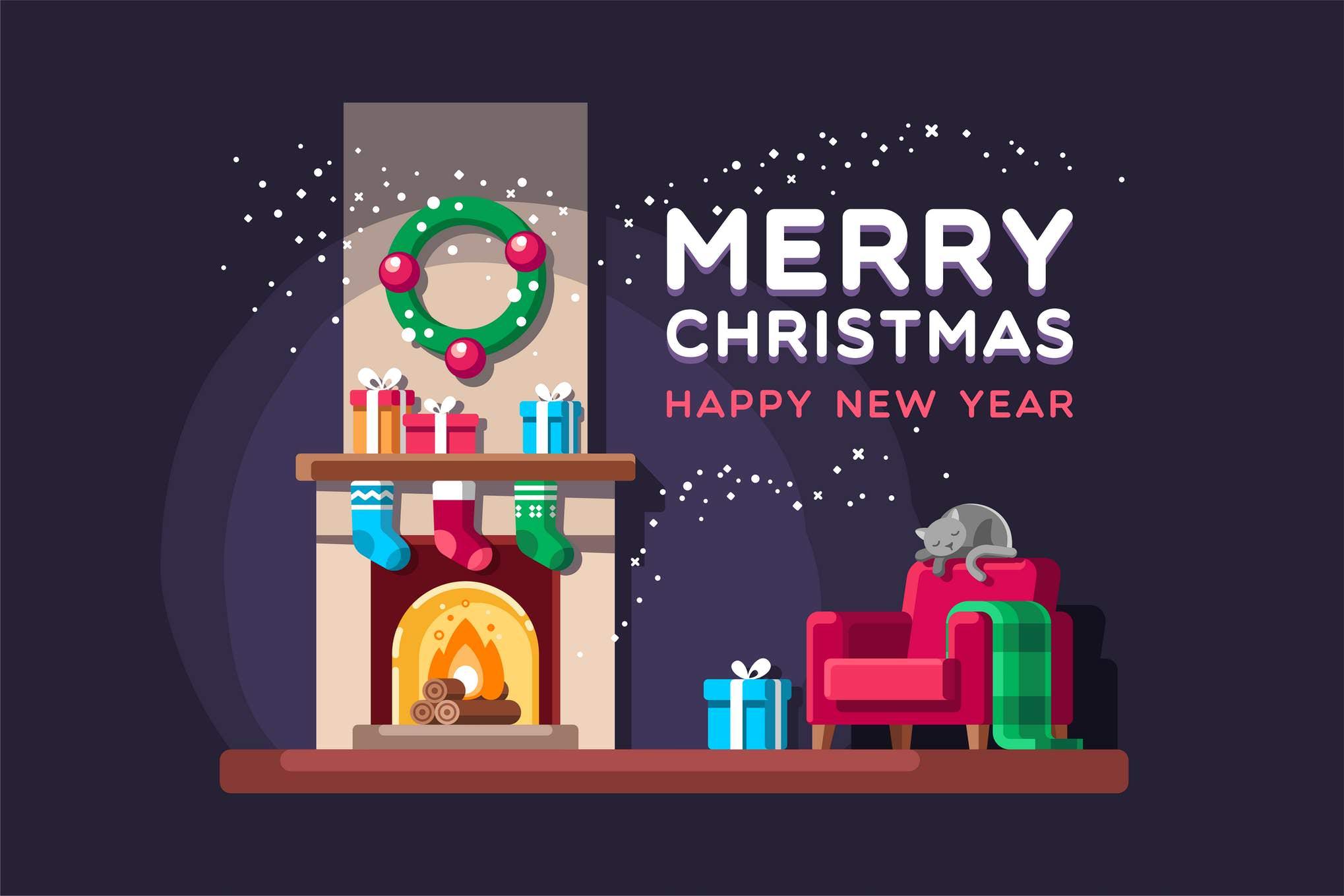 圣诞节的起居室