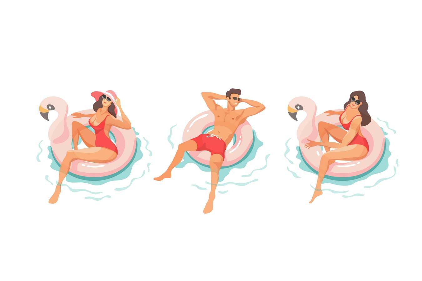 泳池休息的人们