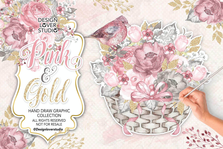 粉金花朵花篮设计