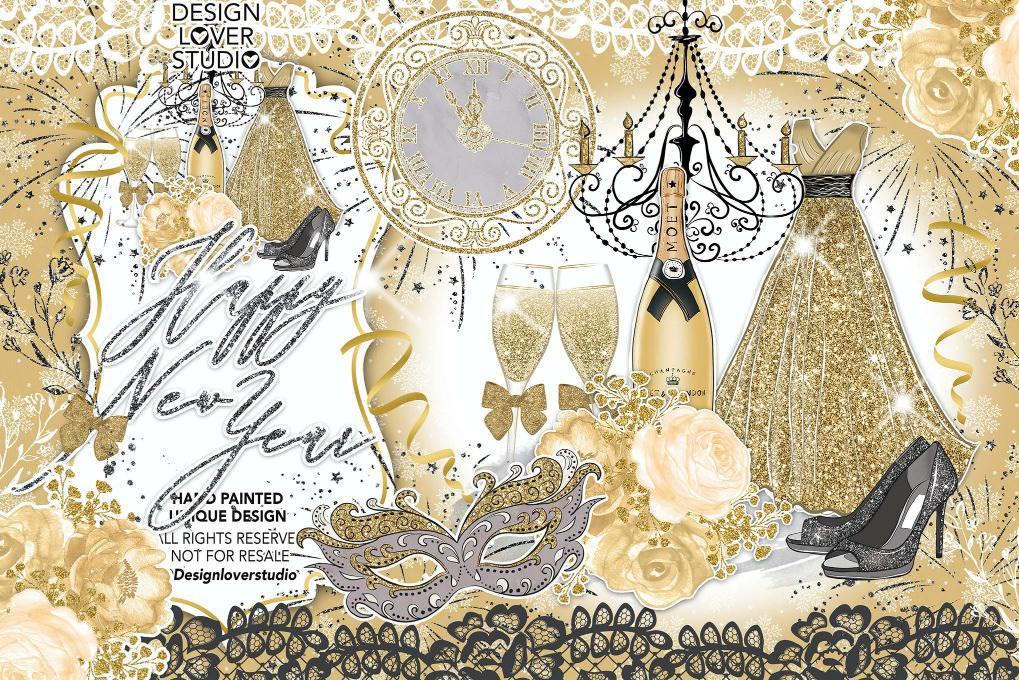 金色新年快乐设计
