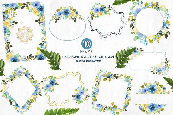 蓝色花朵外框