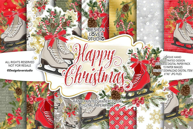 圣诞节与滑冰鞋包装设计套组