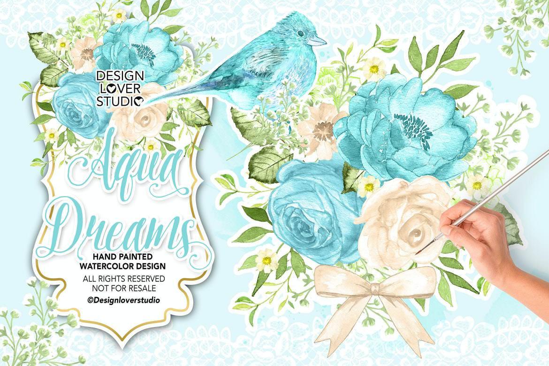 水墨蓝色海洋花朵