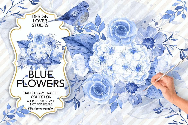 水墨蓝色花朵