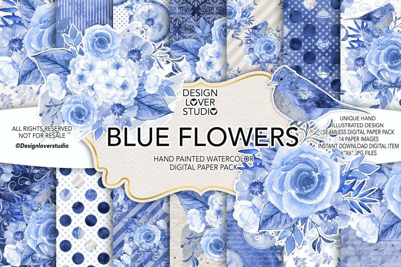 水墨蓝色花朵套图组