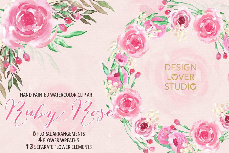 手绘粉色花朵花圈
