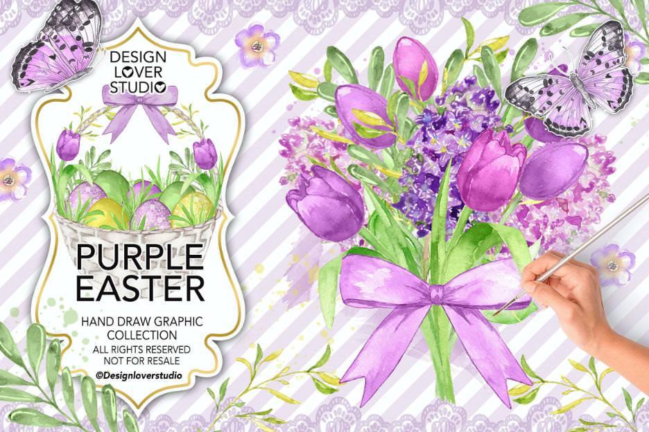 紫色复活节花朵