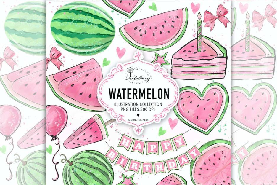 夏日粉色与西瓜