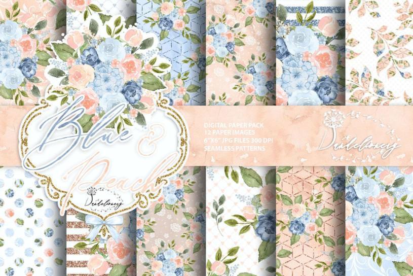 水墨蓝色桃色花朵套组