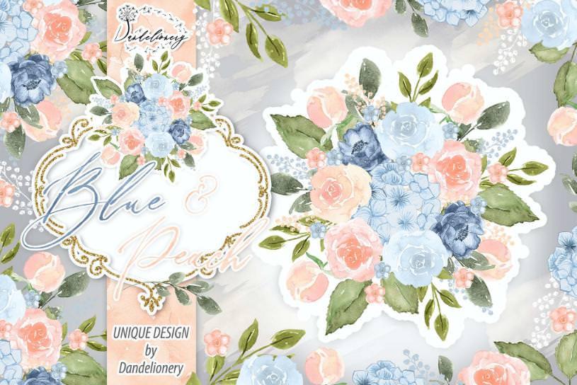 水墨蓝色桃色花朵