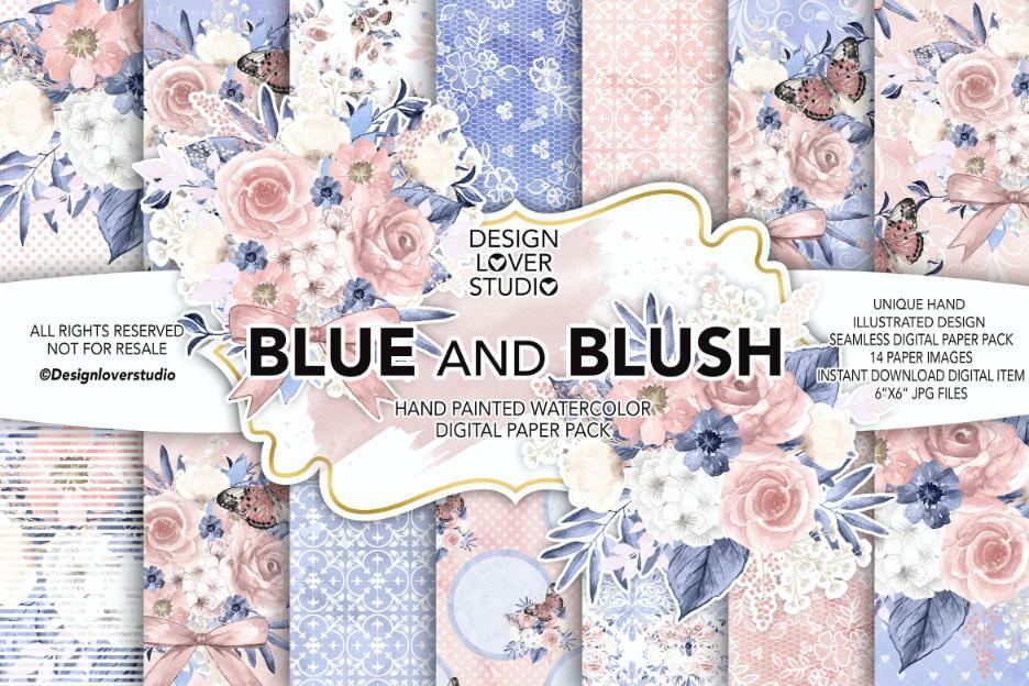 水墨蓝粉花朵