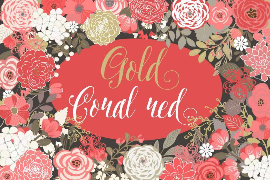 矢量金色与红色花朵