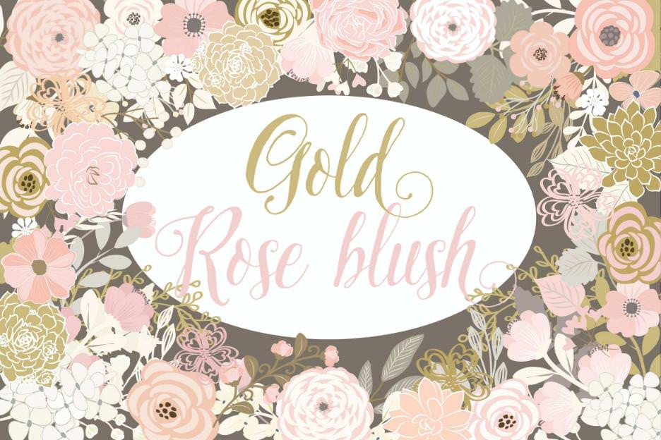 矢量金色粉色花朵