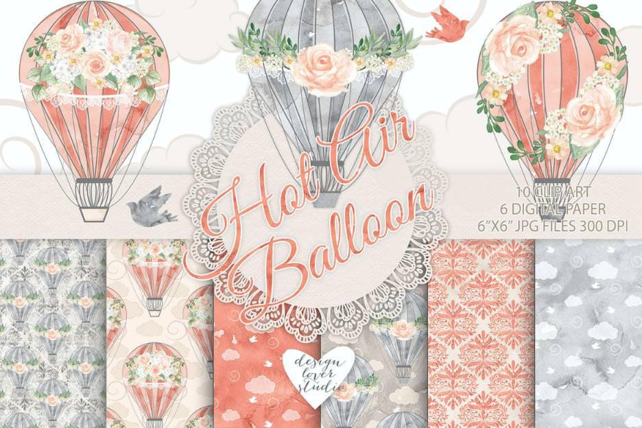 热气球与花