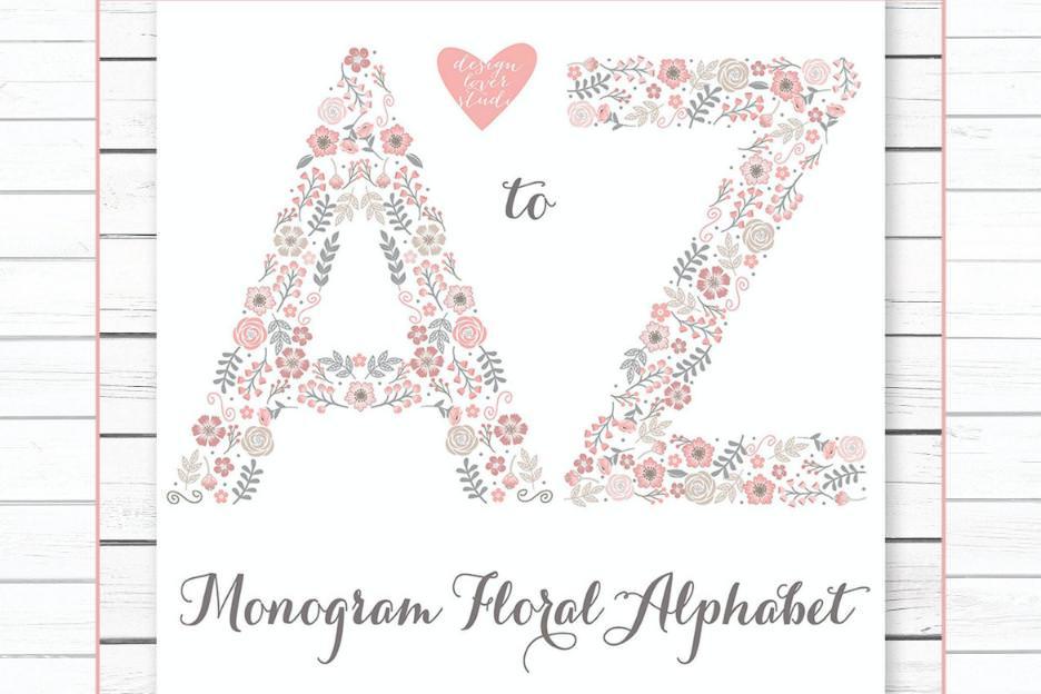 高级花朵字母A-Z