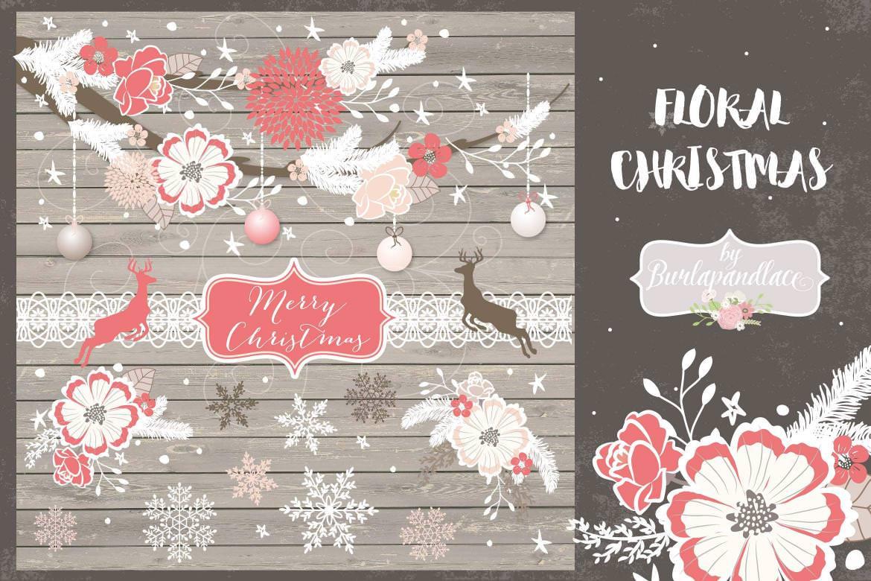 圣诞节花朵元素