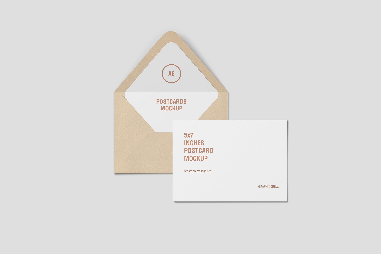 水平明信片和信封
