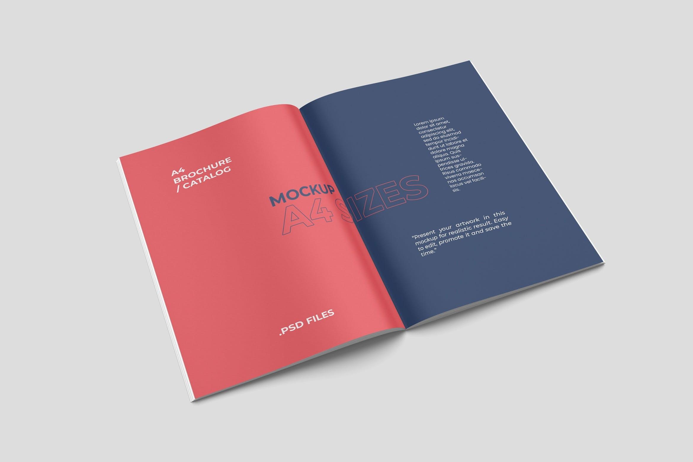打开的A4尺寸宣传册杂志