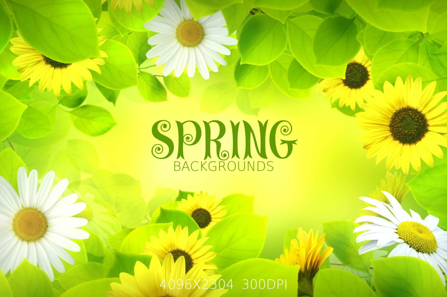 4种春天花开效果纹理背景