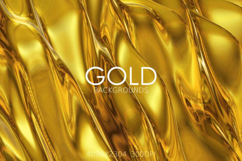 6种金子金色质感效果纹理背景