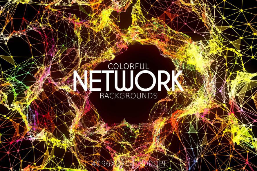 6种多彩网络连接效果纹理背景